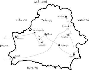 Reiseroute durch Belarus